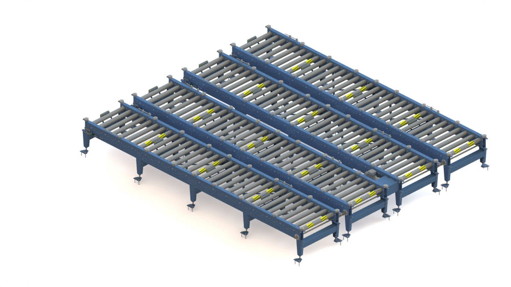 The new pallet accumulation roller conveyor